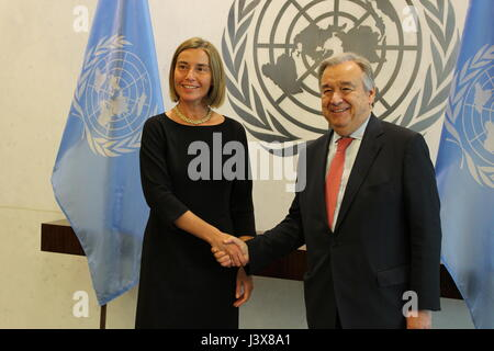 New York, USA. 8th May, 2017. UN meetings of Federica Mogherini, High Representative of the European Union for Foreign - Stock Photo