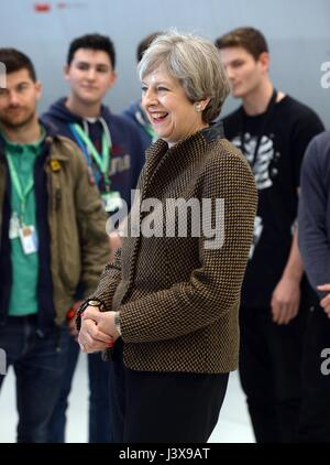 Norwich. 8th May, 2017. Theresa May, British prime minister and leader of the Conservative Party, attends an election - Stock Photo