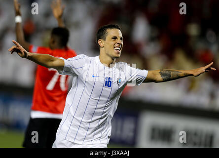 Doha, Qatar. 8th May, 2017. Nicolas Milesi of Al-Hilal celebrates scoring during the AFC Asian Champions League - Stock Photo