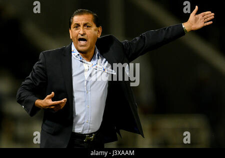Doha, Qatar. 8th May, 2017. Ramon Angel Diaz, head coach of Al-Hilal reacts during the AFC Asian Champions League - Stock Photo