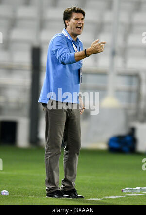 Doha, Qatar. 8th May, 2017. Michael Laudrup, head coach of AL Rayyan, reacts during the AFC Asian Champions League - Stock Photo