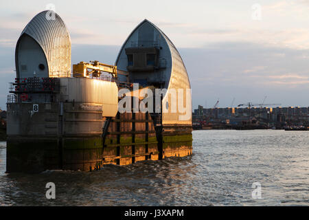 The Thames Barrier on the River Thames in east London, England. The barrier is designed to prevent floods inflicting - Stock Photo