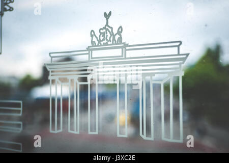 Berlin, Germany - may 03, 2017: Brandenburger Tor (Brandenburg gate) symbol on subway train window at U1 in Berlin, - Stock Photo