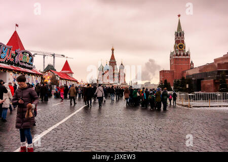 Moscow, Russian Federation - January 21, 2017 : View from Red Square, on the right the Lenin s Mausoleum and  Spasskaya - Stock Photo