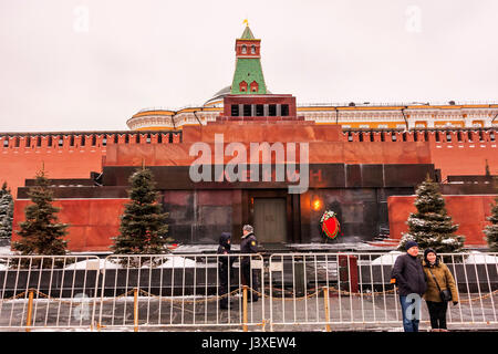 Moscow,Russian Federation - January 28,2017:  - Kremlin , Lenin s Mausoleum on Red Square in winter covered by snow. - Stock Photo