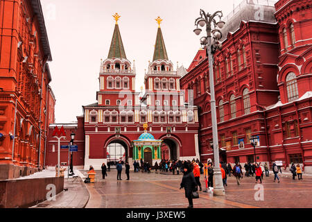 Moscow, Russian Federation - January 21, 2017 : Towards the famous Kremlin zone , many people and visitors like - Stock Photo