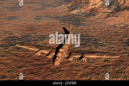 Abandoned B-17 Bomber In A Desert. - Stock Photo