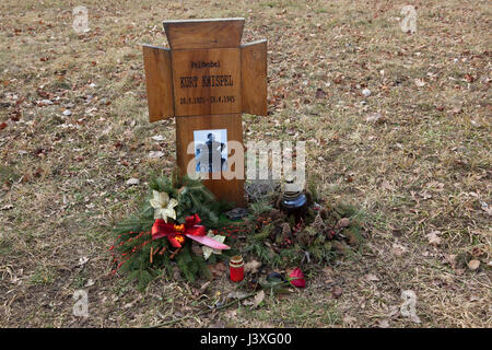Grave of German feldfebel Kurt Knispel (1921-1945) on the ground of the German War Memorial at the Central Cemetery - Stock Photo
