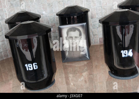 Funerary urns of Bohemian crystal glass containing the ashes of Soviet military officers fallen during World War - Stock Photo