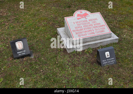 Mass grave of 1,584 Red Army soldiers fallen during World War II on the ground of the Soviet War Memorial at the - Stock Photo