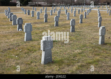 Graves of German Nazi soldiers on the ground of the German War Memorial at the Central Cemetery in Brno, Czech Republic. - Stock Photo
