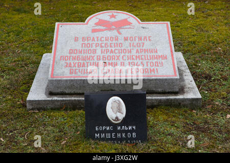 Mass grave of 1,407 Red Army soldiers fallen during World War II on the ground of the Soviet War Memorial at the - Stock Photo