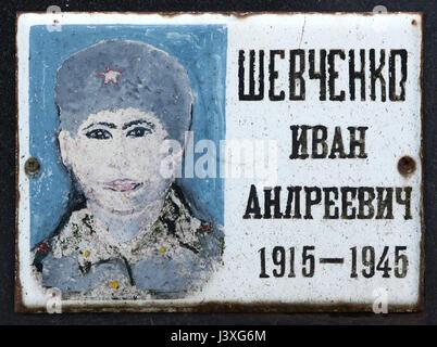 Photograph of Soviet military officer Ivan Shevchenko fallen during World War II on the ground of the Soviet War - Stock Photo