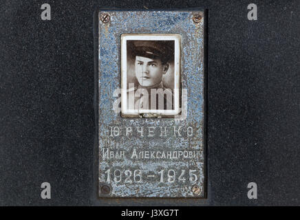 Photograph of Soviet military officer Ivan Yurchenko on the ground of the Soviet War Memorial at the Central Cemetery - Stock Photo