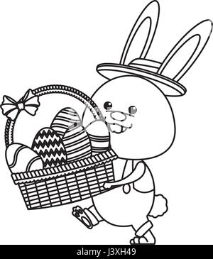 funny easter rabbit with basket egg image line - Stock Photo