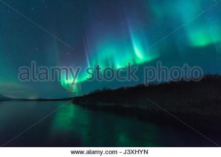 Northern Lights, Husafell, Iceland - Stock Photo