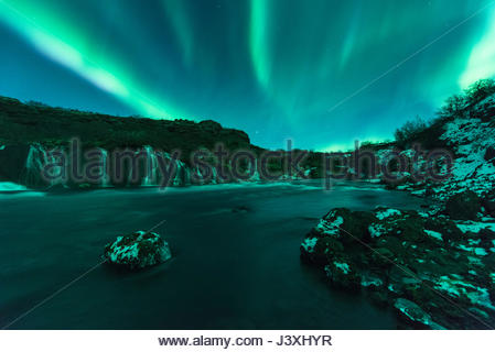 Northern Lights, Hraunfossar, Iceland - Stock Photo