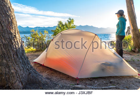 Woman admiring the view of the Nahuel Huapi Lake in Patagonia - Stock Photo
