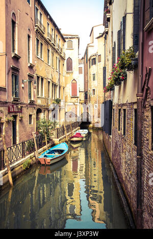 Rio de San Maurizio, one of the many small canals in Venice used to get around the city. - Stock Photo