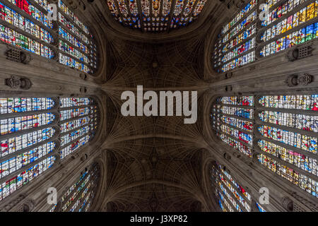 King's College Chapel from inside - Stock Photo