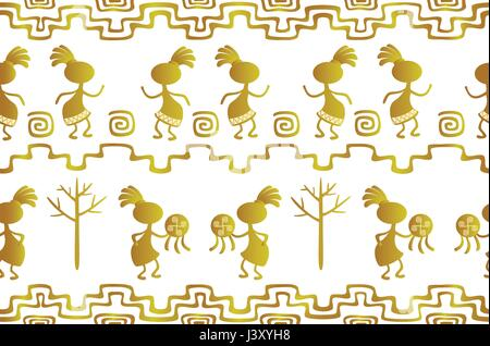 Seamless pattern in the ethnic style of ancient American Indians with scenes of ritual dances of ancient shamans. - Stock Photo