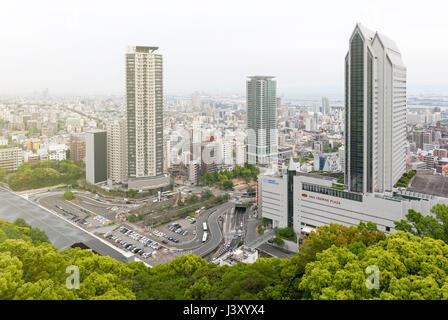 Kobe, Japan - April 2016: Aerial view of Kobe city from Mount Rokko, skyline and cityscape of Kobe - Stock Photo