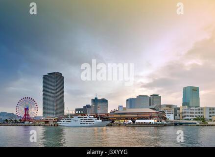 Kobe, Japan - April 2016: Umie Mosaic Kobe Harborland shopping mall and theme park on waterfront at Port of Kobe, - Stock Photo