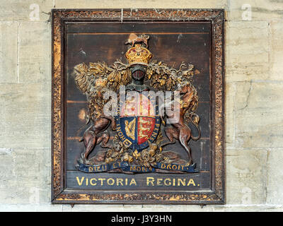 Victoria Regina Coat of Arms above the Door Inside the Church of St Mary at Roecliffe near Boroughbridge Yorkshire - Stock Photo