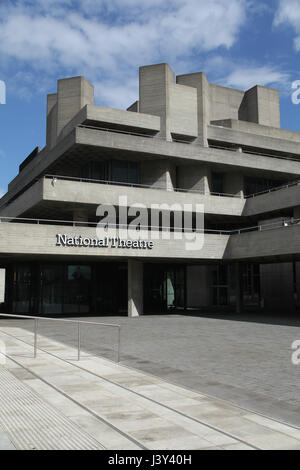 London, England, 22 April 2017 - National Theatre, Southbank of River Thames - Stock Photo