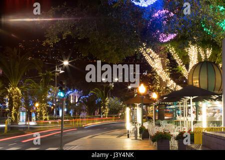 Festival street lights on Avenida do Mar, Funchal, Madeira - Stock Photo