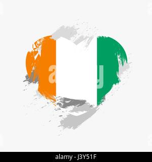 Flag of Cote d'Ivoire isolated on grunge heart. Vector illustration - Stock Photo
