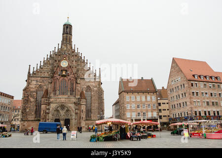 Frauenkirche (Church of Ladies) and market square in Nuremberg, Bavaria, Germany - Stock Photo