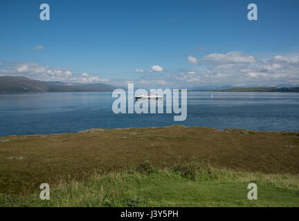 View from Duart Point on the Isle of Mull, Scotland with a Caledonian MacBrayne car ferry. - Stock Photo