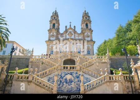 Lamego Portugal, the church of Santuario de Nossa Senhora dos Remedios at the summit of the 686 step Baroque staircase - Stock Photo