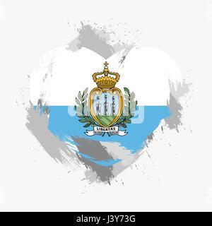 Flag of San Marino isolated on grunge heart. Vector illustration - Stock Photo