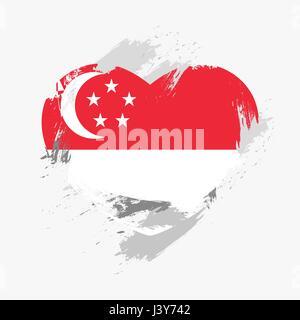 Flag of Singapore isolated on grunge heart. Vector illustration - Stock Photo