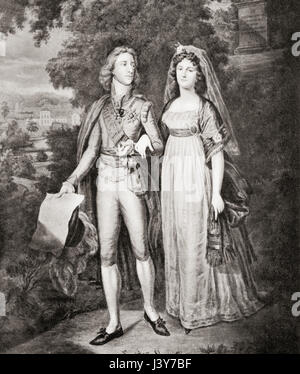 Gustav IV Adolf  and his wife Frederica of Baden.  Gustav IV Adolf aka Gustav IV Adolph, 1778 – 1837.  King of Sweden - Stock Photo