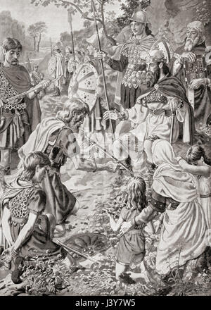 The defeat of Guthrum by Alfred the Great after the Battle of Edington in 878. Guthrum or Guðrum, died c. 890. King - Stock Photo