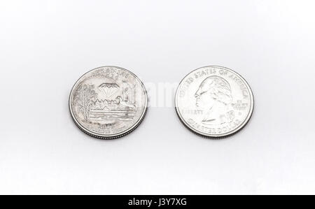 Closeup to Arkansas State Symbol on Quarter Dollar Coin on White Background - Stock Photo