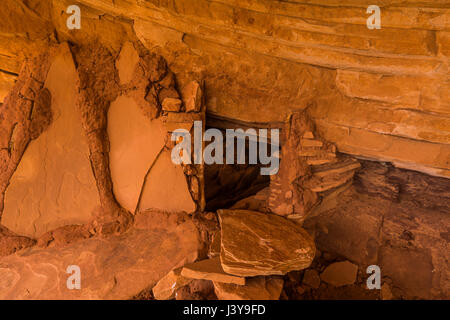 Stone slabs used in Ancestral Puebloan ruins in Road Canyon, Bears Ears National Monument, southern Utah, USA - Stock Photo