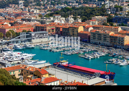 Boats, yachts and ships in port of Nice, France (view from above). - Stock Photo