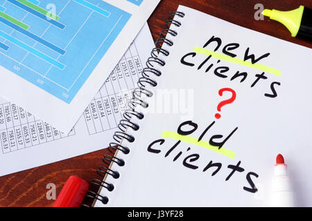 New clients or old clients written in a note. Customer Acquisition concept. - Stock Photo