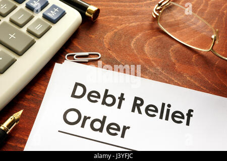 Document with title Debt relief orders DRO. - Stock Photo