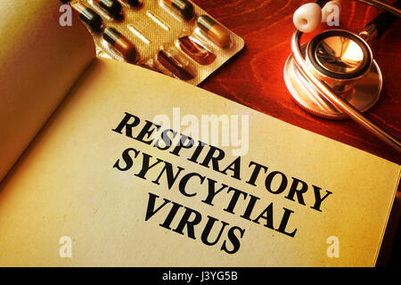 Book with title Respiratory syncytial virus RSV. - Stock Photo