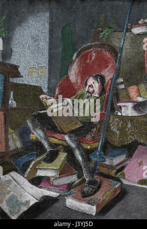 Don Quixote by Miguel de Cervantes. 17th century.  Alfonso Quijano reading books of cavalry. Engraving. - Stock Photo