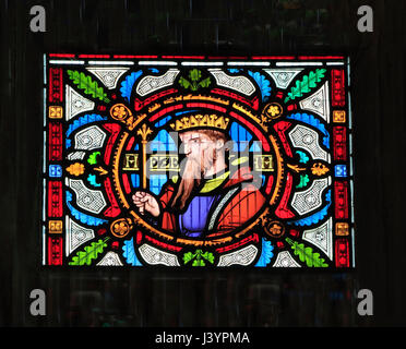 Hezekia, King of Judah, detail from the Story of Ruth, stained glass window by Robert Bayne of Heaton Butler & Bayne, - Stock Photo