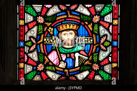 King David, detail from Story of Ruth, stained glass window by Robert Bayne of Heaton Butler & Bayne, 1862  Sculthorpe, - Stock Photo