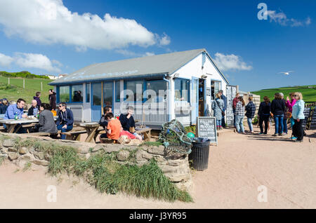 The Beach House beach cafe at South Milton Sands near Thurlestone in the South Hams in Devon - Stock Photo