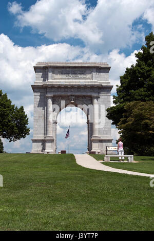 The Nat. Memorial Arch dedicated to the officers and soldiers of the Continental Army 1777-1778 at Valley Forge - Stock Photo