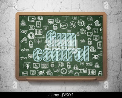 Protection concept: Gun Control on School board background - Stock Photo